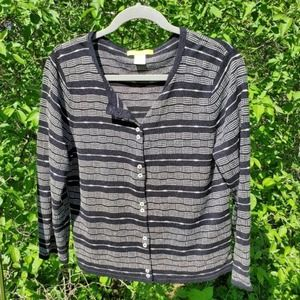 Sigrid Olsen black and white button up long sleeve
